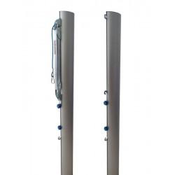 Multifunctional aluminum tournament beach volleyball posts, profile 116x76 mm, tension mechanism type SLIM