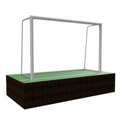 Mini-football goals 3x2 m with folding bows, aluminum profile 120x100 mm, installed in assembly sleeves