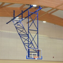 Suspended basketball structure with an electric drive