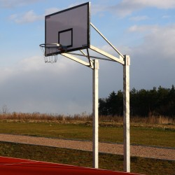 Double-post basketball structure for backboard 105x180 cm, permanently mounted