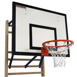 Basketball set installed on gymnastic wall bars