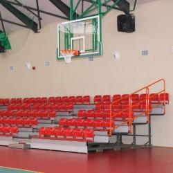 Telescopic tribune with folding plastic seats