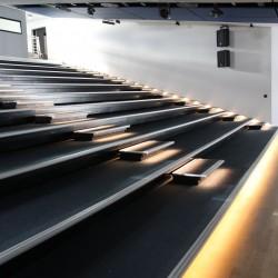 Telescopic folding tribune without seats, with LED lighting