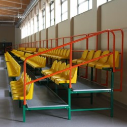Stationary tribunes with plastic seats - for indoor use