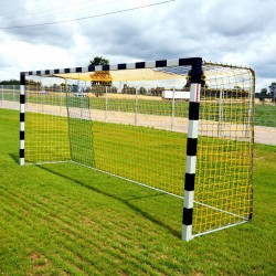 Football goals 5x2 m, square profile, extended, mounted in the sleeves