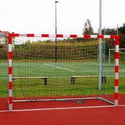 Steel handball goals, the main frame all-welded, with solid bows