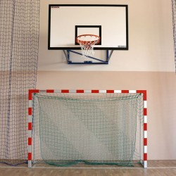 Aluminum handball goals, reinforced profile, the main frame connected in the corners, with folding bows