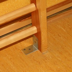 The bracket, fixing gymnastic wall bars to the floor
