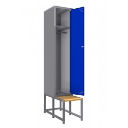 Single steel clothes locker with a bench