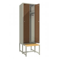 Double steel clothes locker with a bench