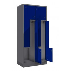 Steel clothes lockers with 4 L-type doors