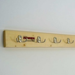 Hanger for locker room, fixed to the wall on a wooden strip