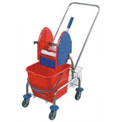 Single trolley for cleaning, chromed