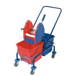 Double trolley for cleaning, powder coated