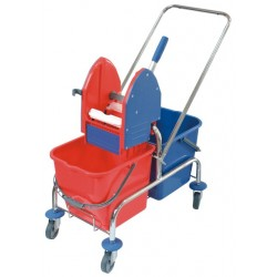 Double trolley for cleaning, chromed