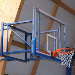Tilting basketball structure, side wall foldable, projection 100 - 160 cm