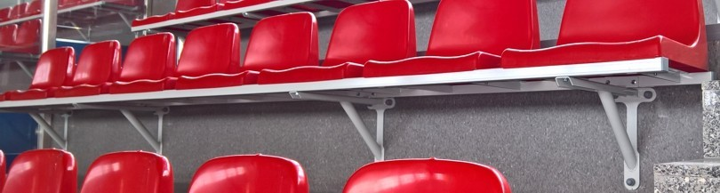 Seats mounted on a steel structure