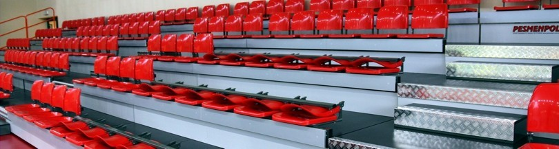 Telescopic tribunes with seats with folding backrest
