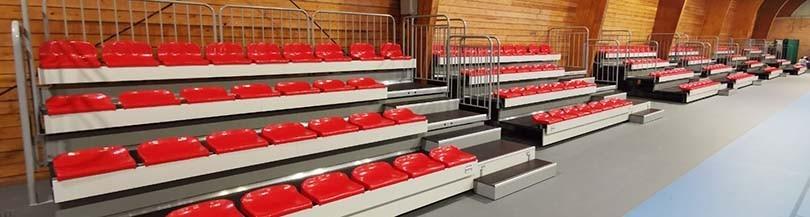 Telescopic tribunes with plastic seats