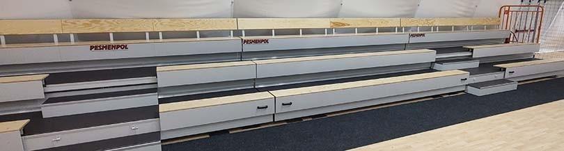 Telescopic tribunes with wooden benches