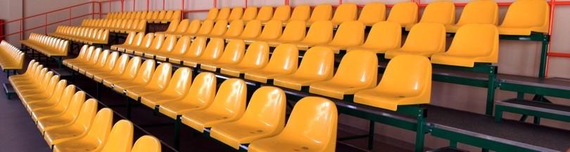 Stationary tribunes with plastic seats