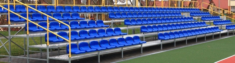 Stationary tribune for outdoor use, with plastic seats
